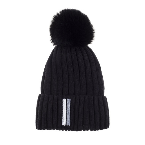 2 Stripe Knit Beanie Black