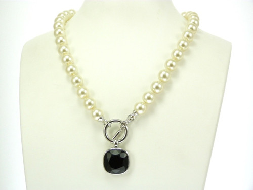 Jet Pendant Glass Pearl Necklace