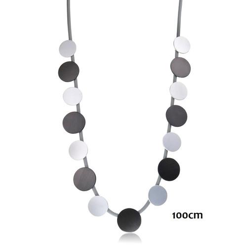 Grey/Black Round Discs Necklace