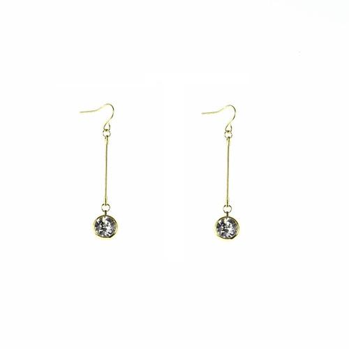 Gold/Crystal Chain Drop Earrings