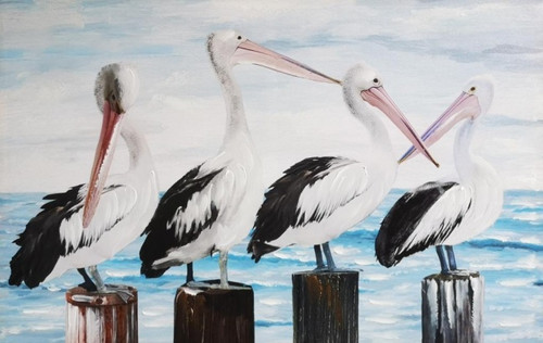Pelicans Hand Painting Canvas