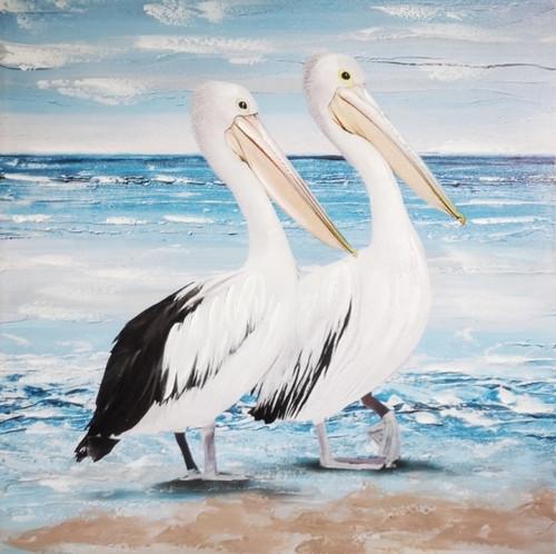 Pelican Pair Painted Canvas