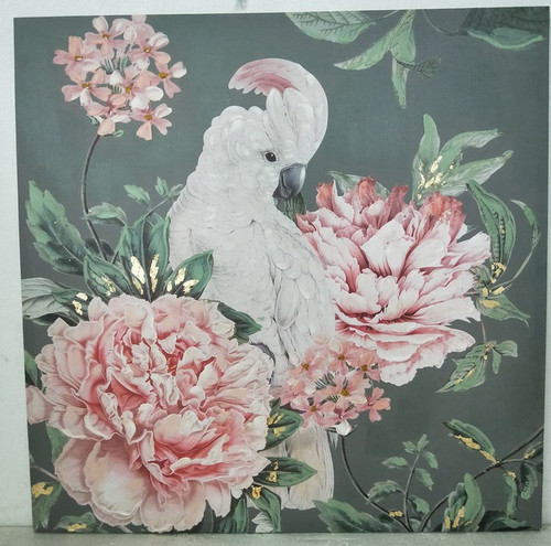 Cockatoo & Flowers Canvas
