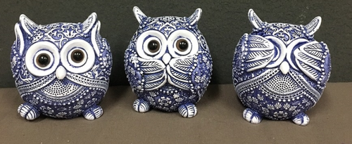 Blue & White Owl Ornaments