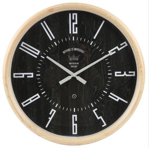 Black Wood Wall Clock 60cm
