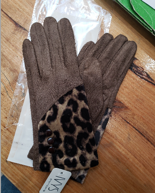 Brown Leopard Gloves
