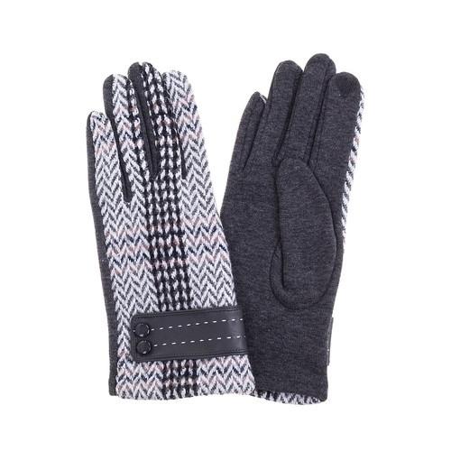 Grey Tartan Look Gloves
