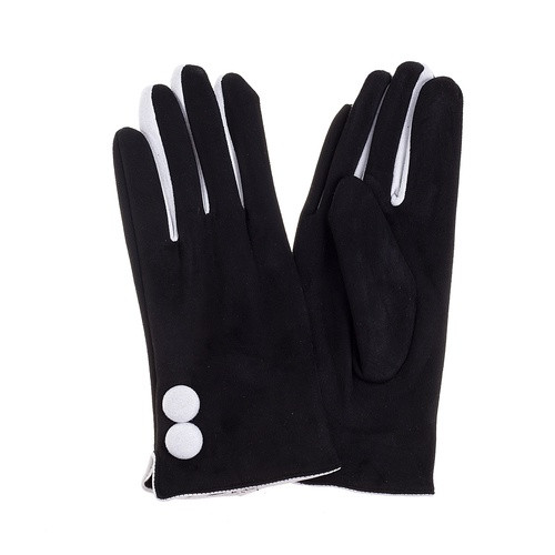 Black Gloves with White Buttons