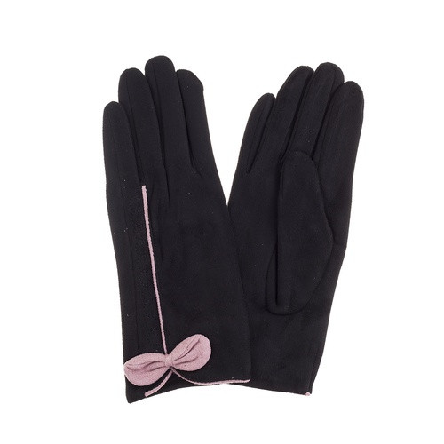 Black Gloves with Pink Bows