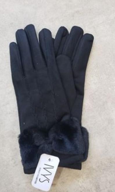 Argyle Gloves W/ Fur Trim