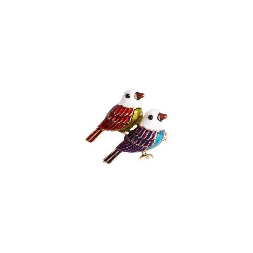 Red & Purple Birds Brooch