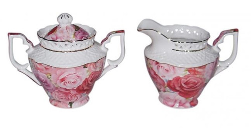 Pink Rose Sugar Pot & Creamer Set