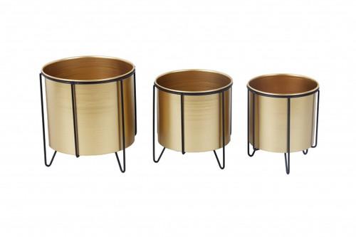 Gold Metal Pot w/ Stand