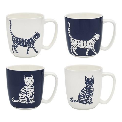Navy & White Cat Mugs / Set 4