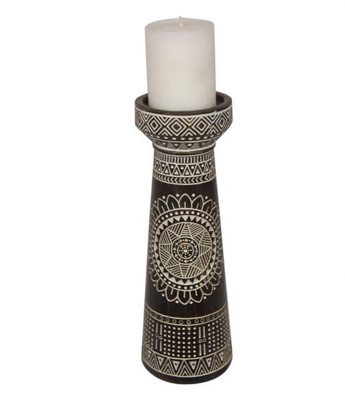 Tribal Pillar Candle Holder