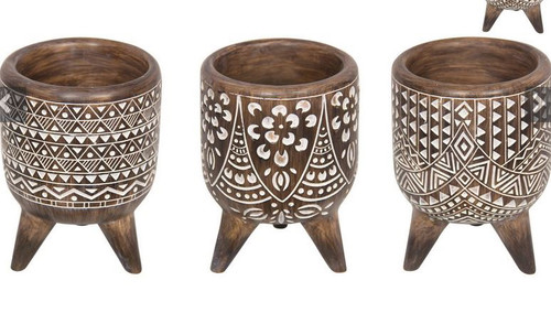 Tribal Wooden Planter 15cm