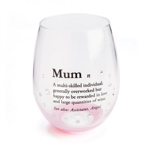 Mum Definition Stemless Wine Glass
