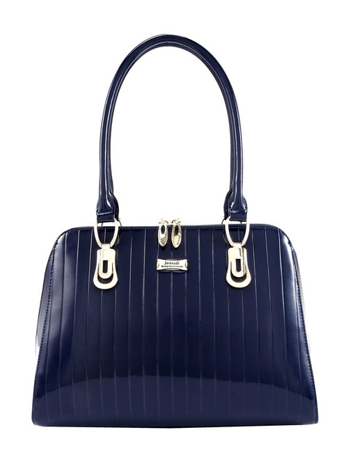 Isabella Patent Leather Handbag / Navy