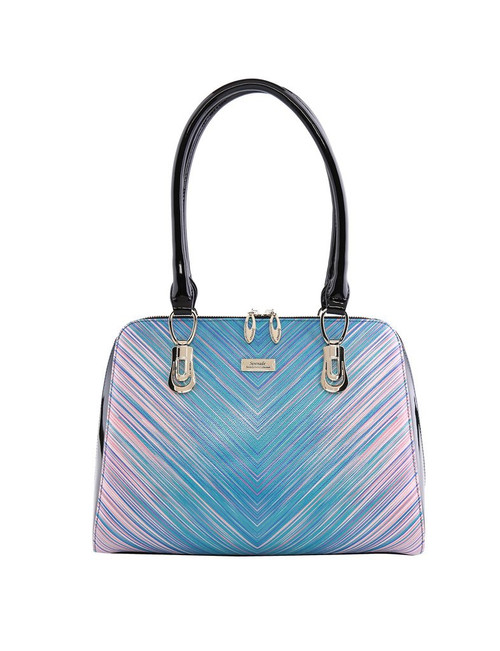 Eve Large Leather Handbag / Pastel Chevron