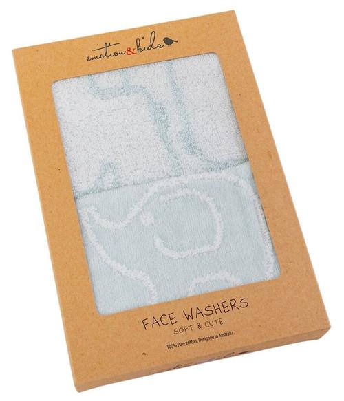 Blue Safari Face Washer Set