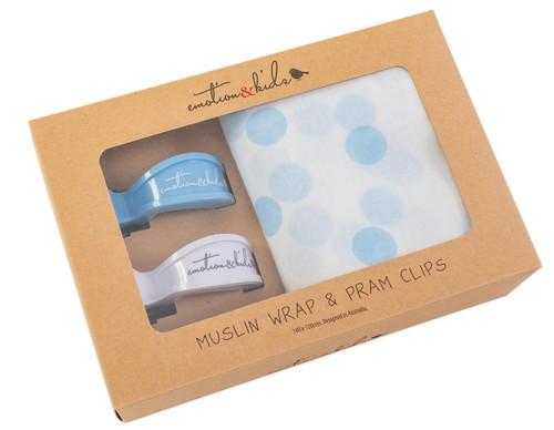 Blue/White Spot Muslin Wrap & Clips Set