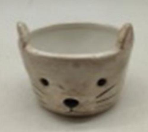 Round Ceramic Cat Planter