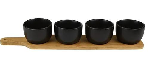 Bamboo Tray w/ Black Bowls 41cm