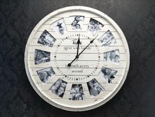 Cream Photo Frame Clock 80cm