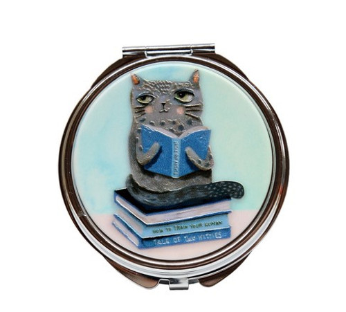Cat And Books Pill Box