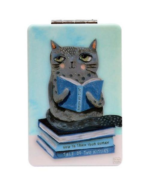 Cat & Books Compact Mirror