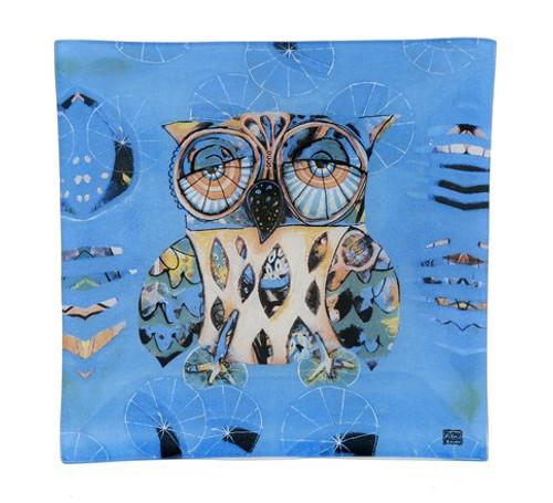 Blue Owl Glass Plate
