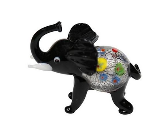 Glass Elephant Ornament / Black
