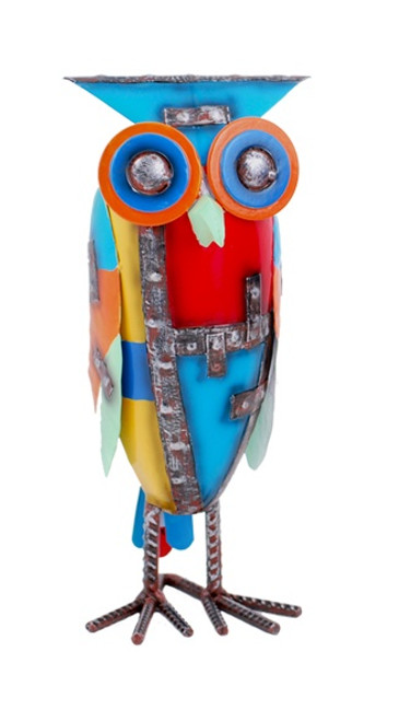 Abstract Metal Owl Figurine