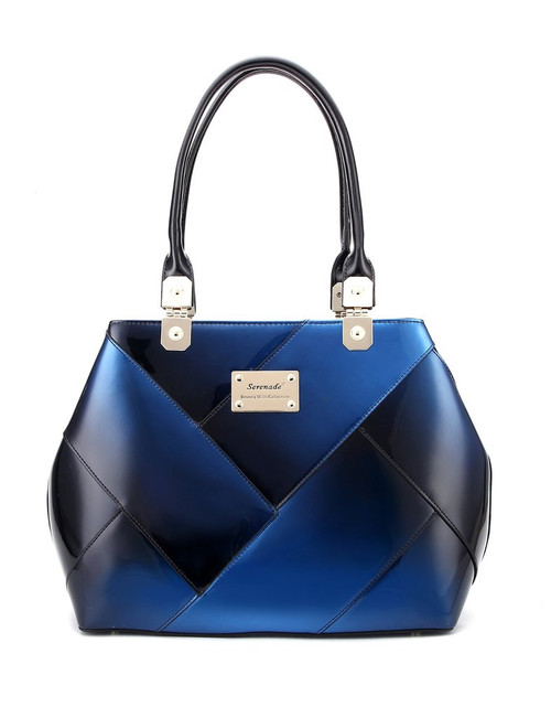 Gabriella Large Panelled Leather Handbag / Blue Gradient