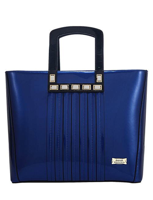 Allura Grip Handle Leather Handbag / Royal Blue