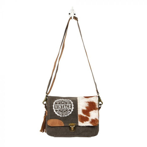 Cowhide & Stamped Canvas Messenger Bag