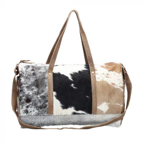 Tricolour Hairon Cowhide Overnight Bag
