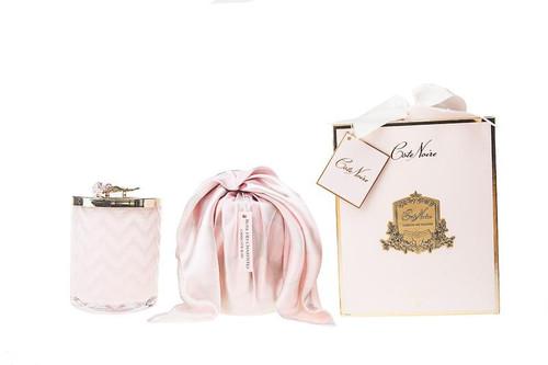 Pink Rose Herringbone Glass Candle W/ Scarf