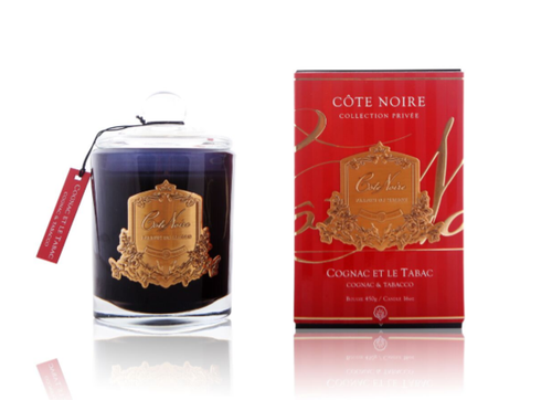 Cognac/Tobacco Black & Gold Candle 450g