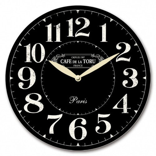 Black Paris Wall Clock 28cm