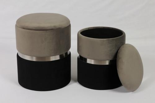 Grey & Silver Ring Storage Ottoman