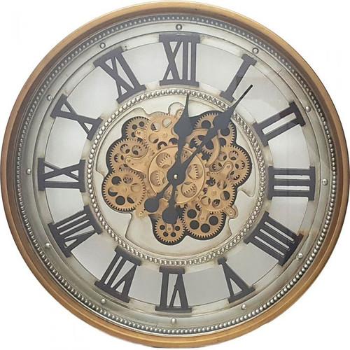 Black/Gold Roman Moving Gears Clock 60cm
