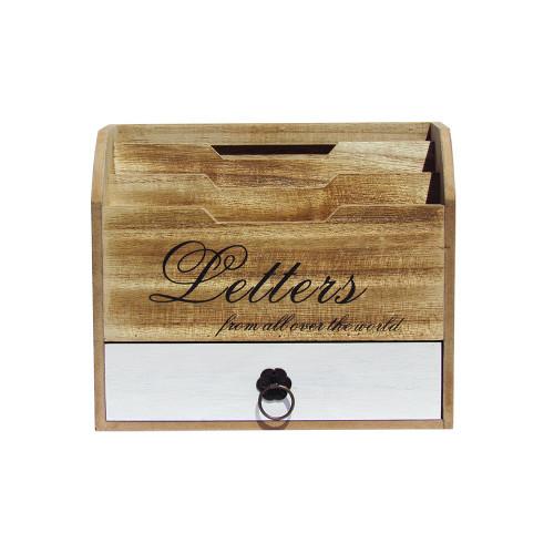 Wooden Letter Holder w/ Storage Drawer