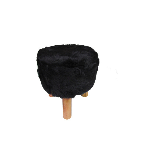 Black Faux Fur Footstool 35cm