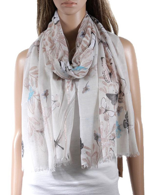 Butterflies and Dragonflies Scarf/ Grey