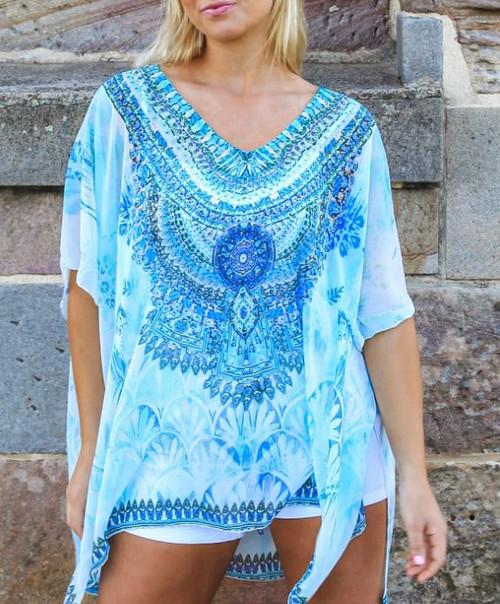 Bright Blue Mandala Cape