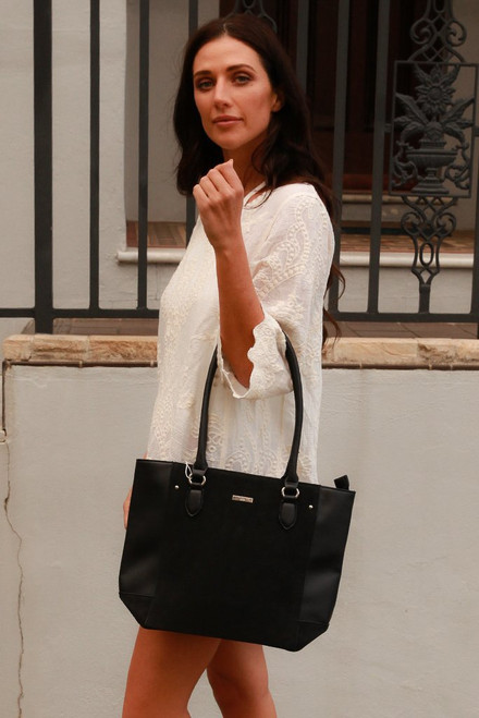 Faux Leather & Suede Tote Bag / Black