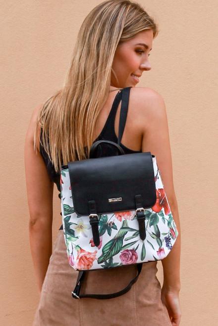 Tropical Flowers Mini Black Backpack
