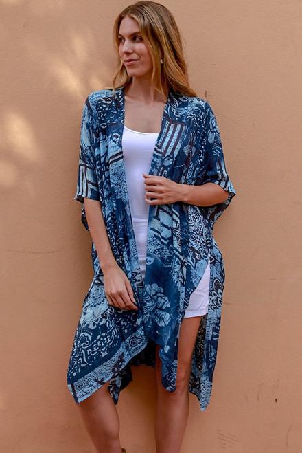 Blue Mandala Pattern Long Cape