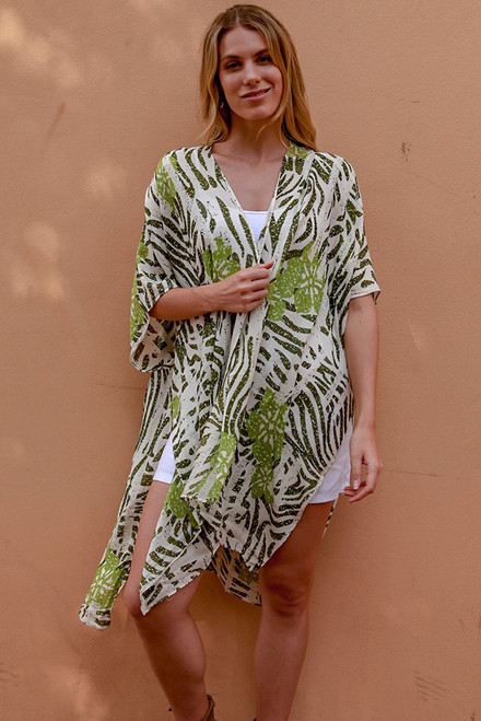 Green Zebra Print Light Cape